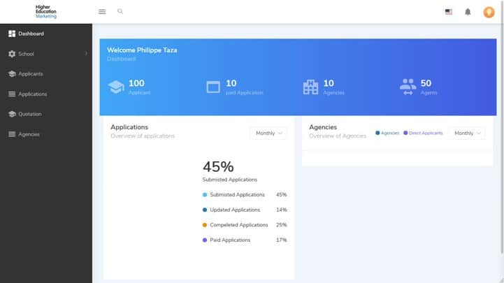 Application portal dashboard