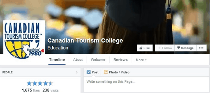 facebook page layout higher education