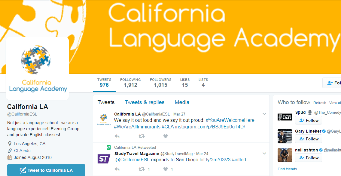 California language school social media marketing