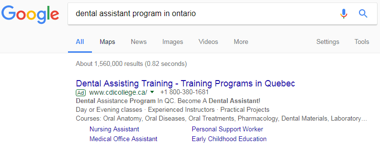 Google ad for student recruitment