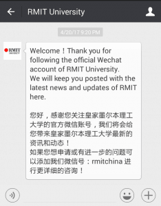 RMIT University WeChat