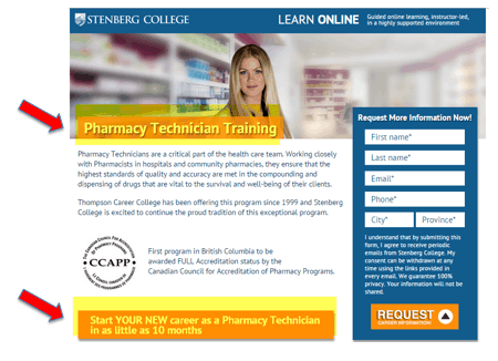 PPC for higher ed landing page content