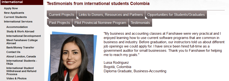 Testimonials International Students