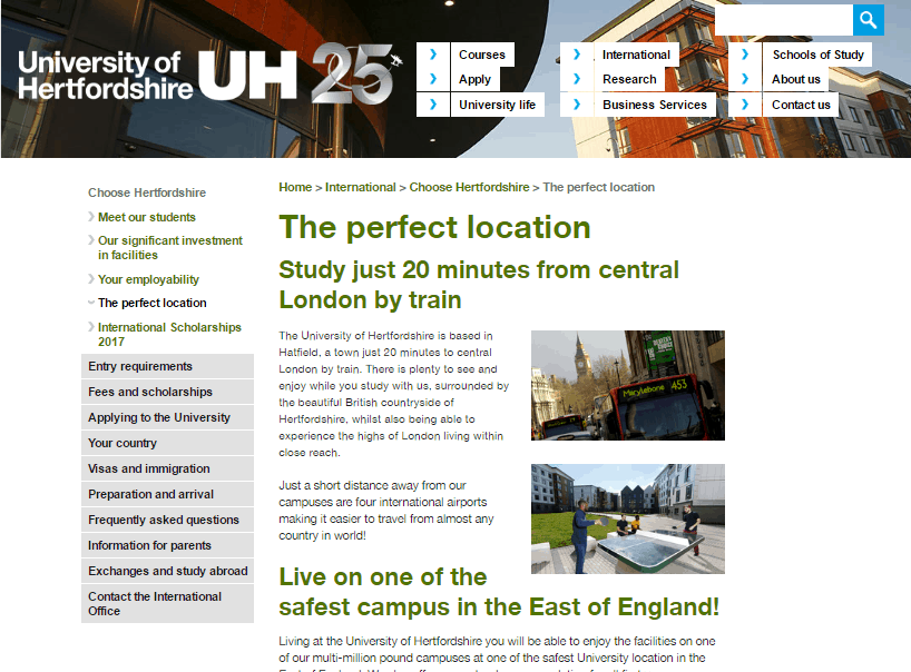 University of Hertfordshire Perfect Location