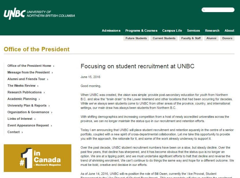 university unbc website student recruitment