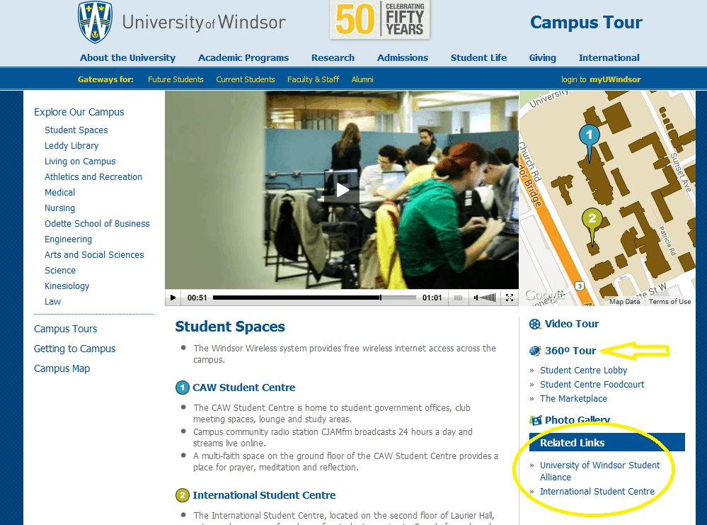 Uwindsor Campus Map.Best Practices For Virtual Tours In Higher Education Education