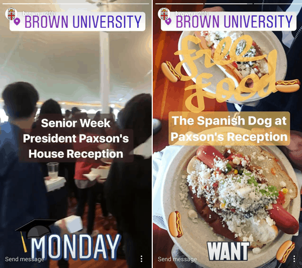 Brown University Instagram story