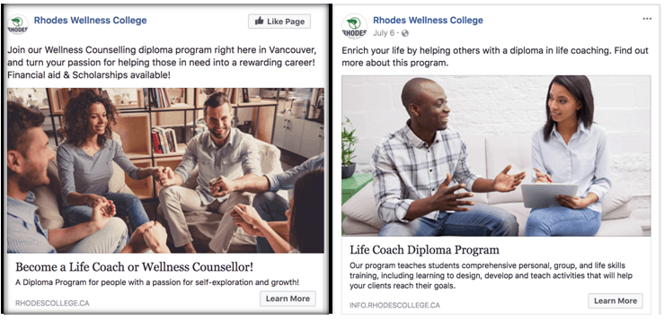 college facebook ads