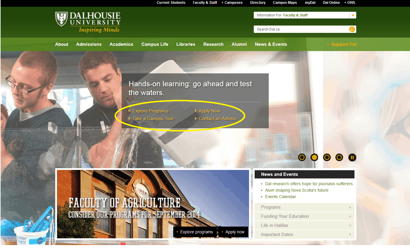 home page calls to action university