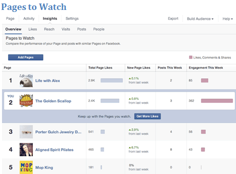 Pages to Watch facebook marketing
