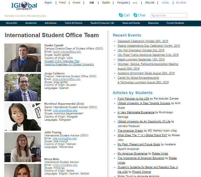 iglobal university international student recruitment
