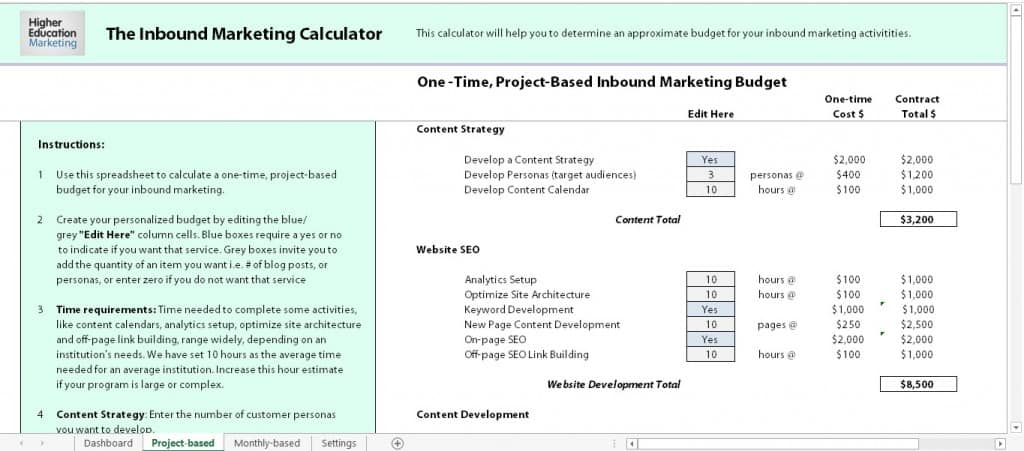 inbound calculator screen cap