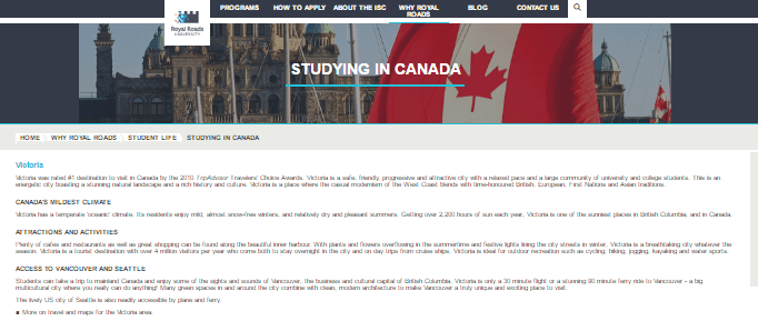 Royal Roads University International Student Recruitment