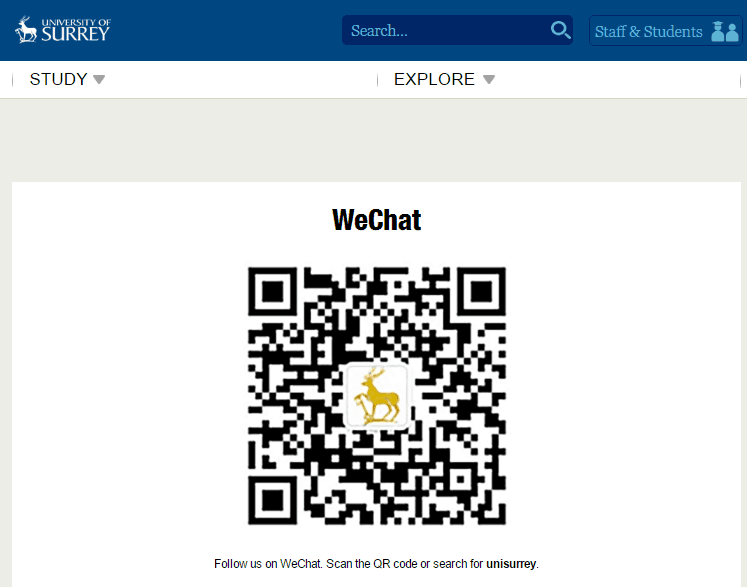 Surrey university WeChat