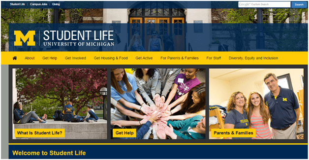 University of Michigan school branding example