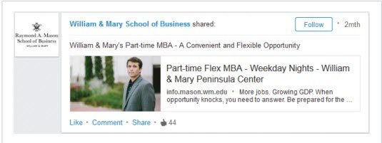 linkedin advertising for business schools