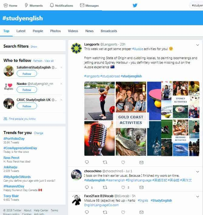 twitter for language schools