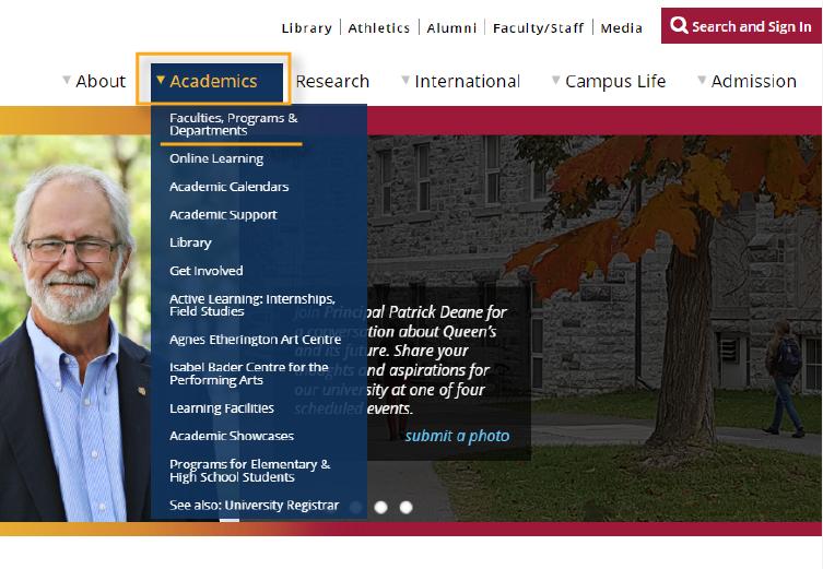 Higher education website design