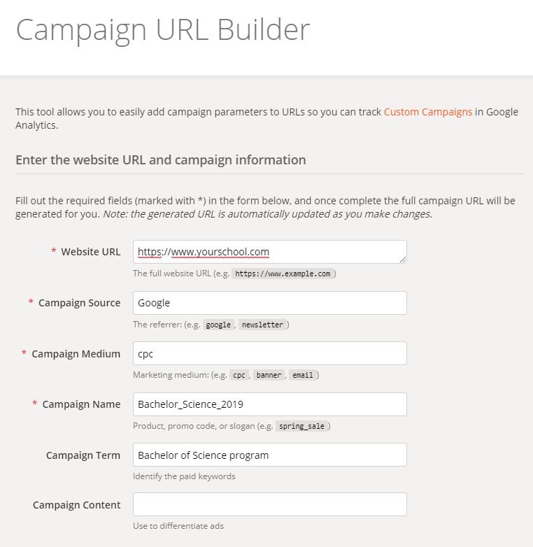 URL builder education