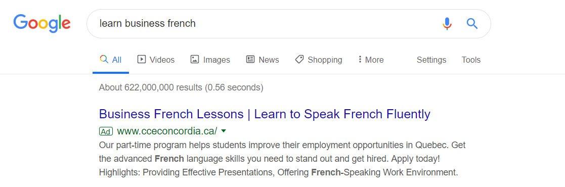 google ads for language schools