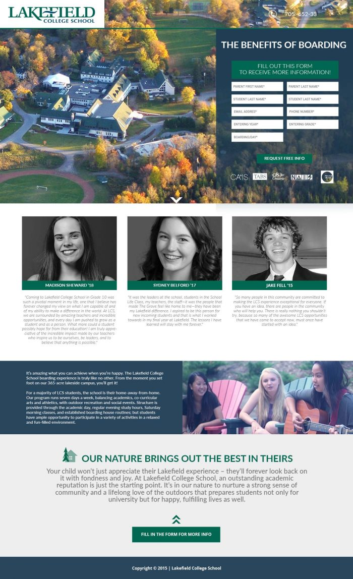 landing page for schools