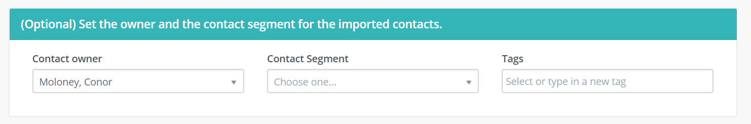 set owner and segment for imported contacts