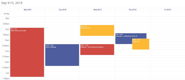 Mautic CRM Calendar
