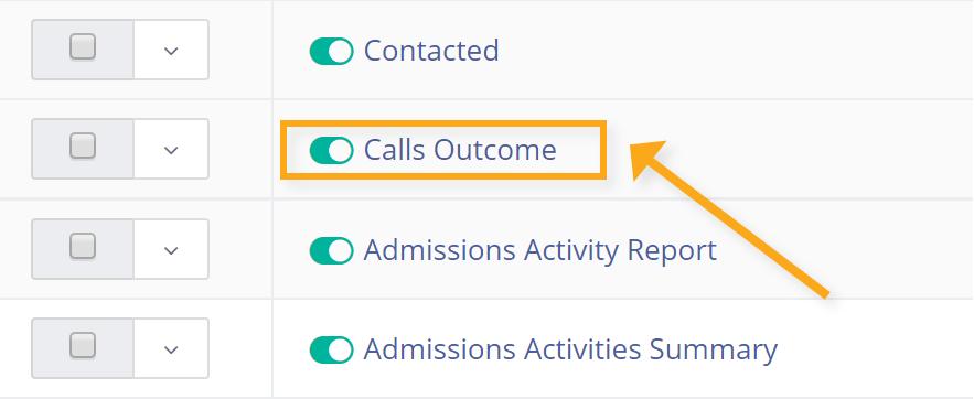 calls outcome menu