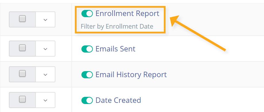 enrollment report menu