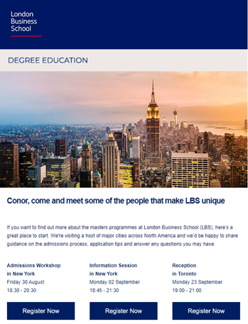 higher education marketing email