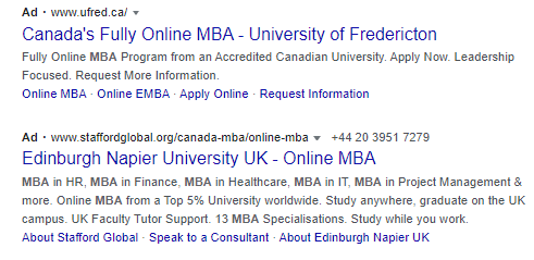 search ads for education