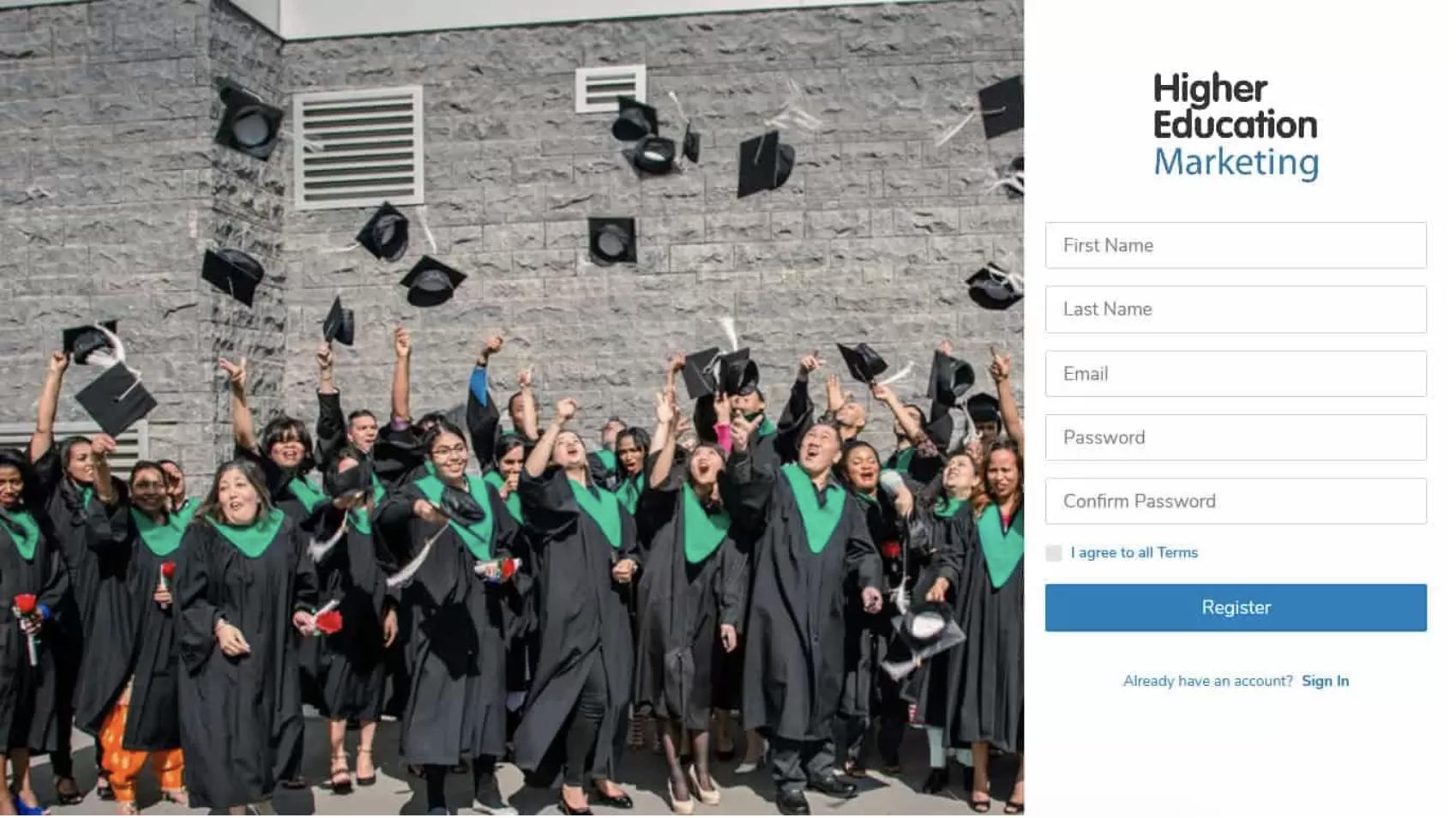 higher ed student application portal