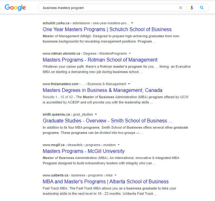 SEO for business schools