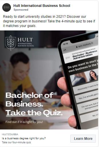 social media ads for education