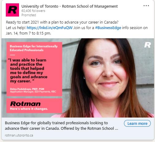 social media ad for education