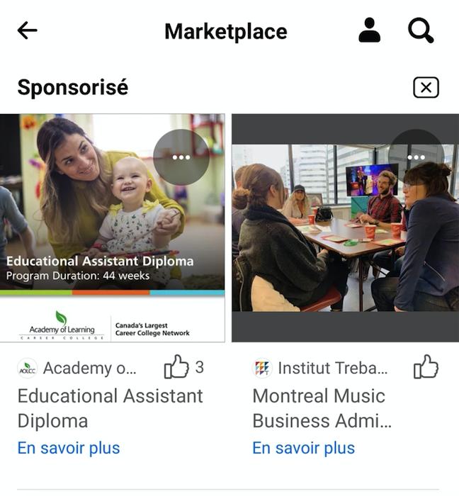 Instagram ads and universities
