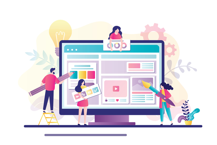 Website development concept. Group of developers and designers create website. Teamwork, creation of an online store or blog.