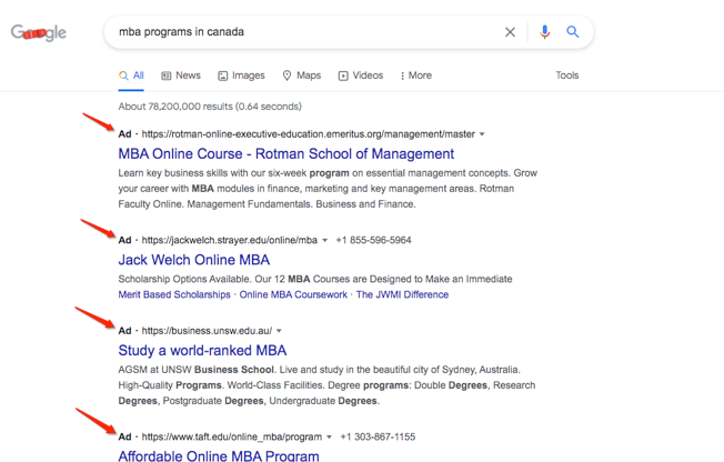 Google ads and schools
